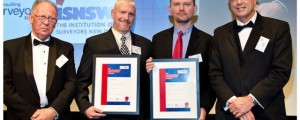 EISSI 2013 Cadastral and Land Titling Winners. Greg Boot and Peter Nancarrow accept their award.